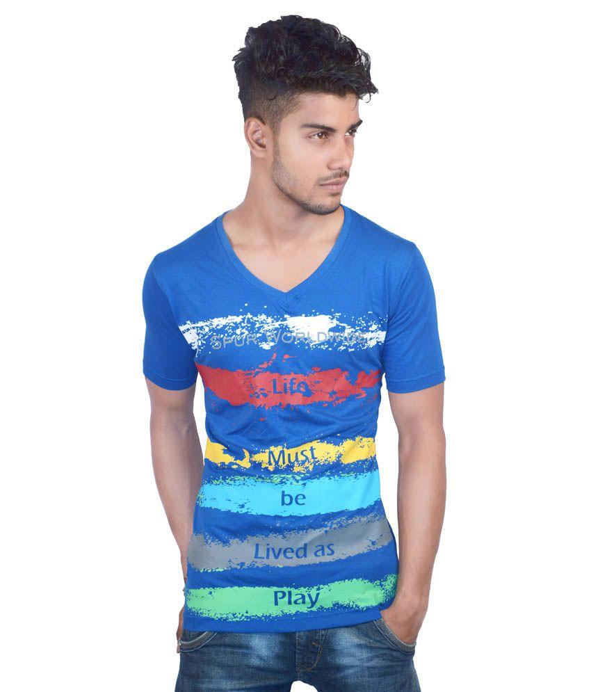 Spur Blue Cotton T Shirt