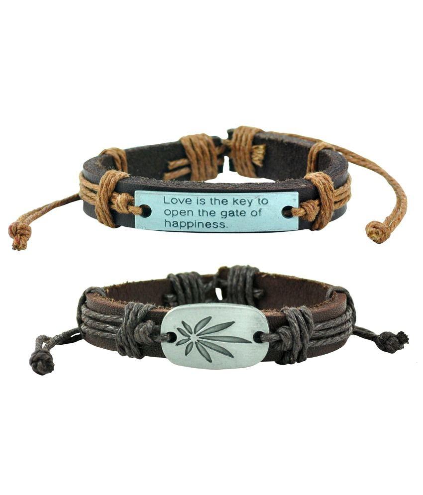 Alpha Man Multicolour Faux Leather Bracelet - Combo of 2
