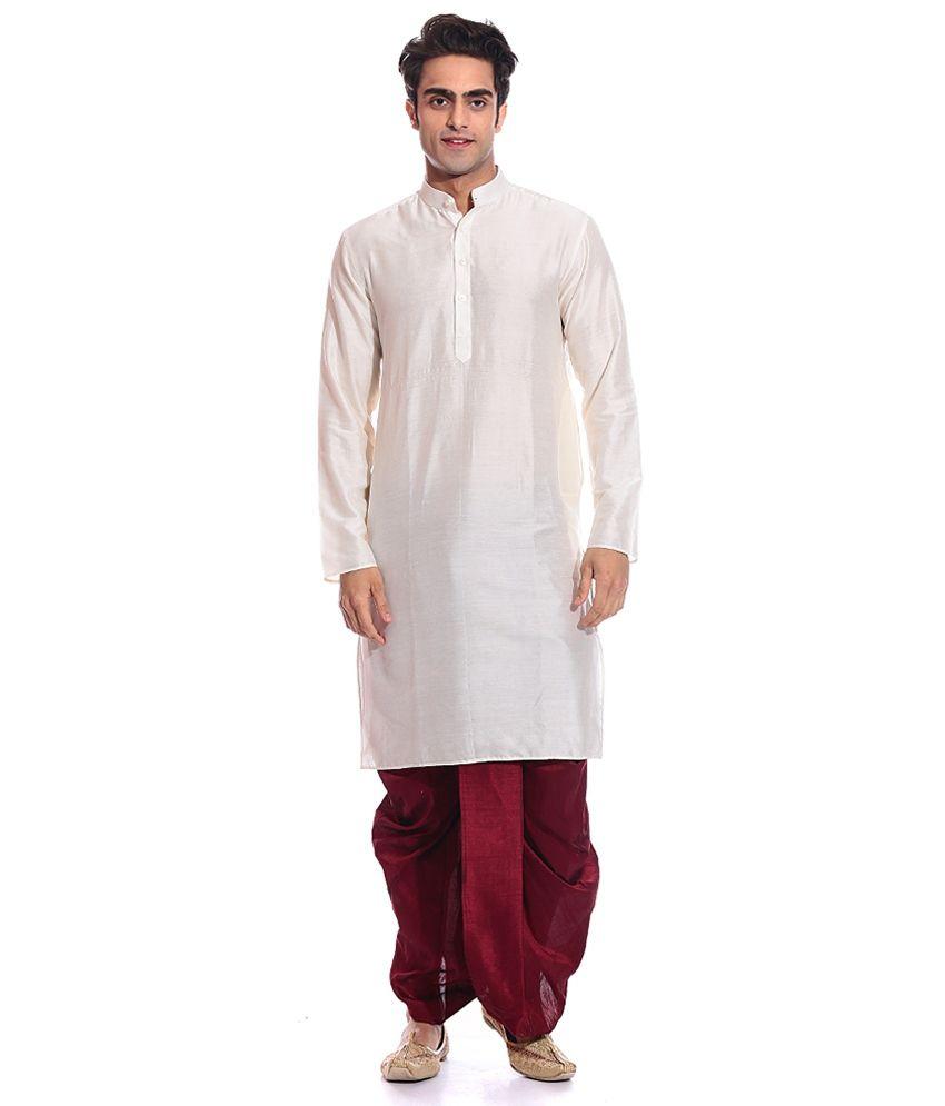 f93dd86ae AMG White Silk Dhoti Kurta Set - Buy AMG White Silk Dhoti Kurta Set Online  at Low Price in India - Snapdeal