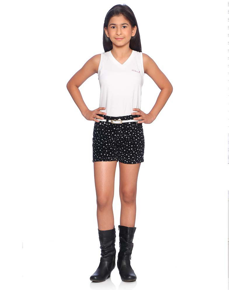 Clench Black Shorts For Girls