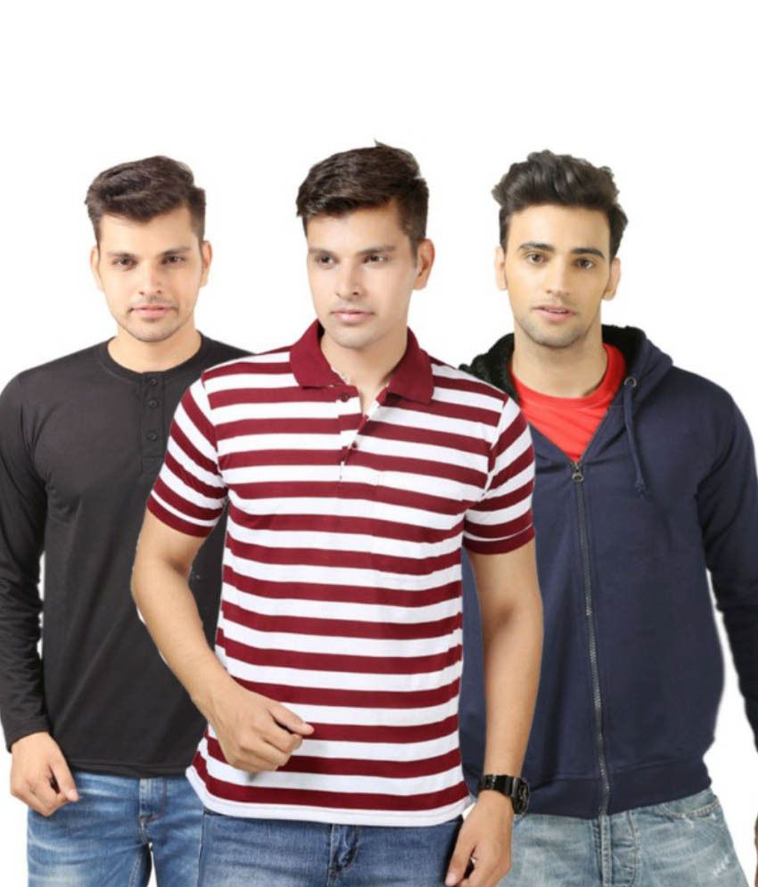 Etoffe Multicolour Cotton Blend 1 Stripe and 1 Henley T-Shirts and 1 Sweatshirt Combo