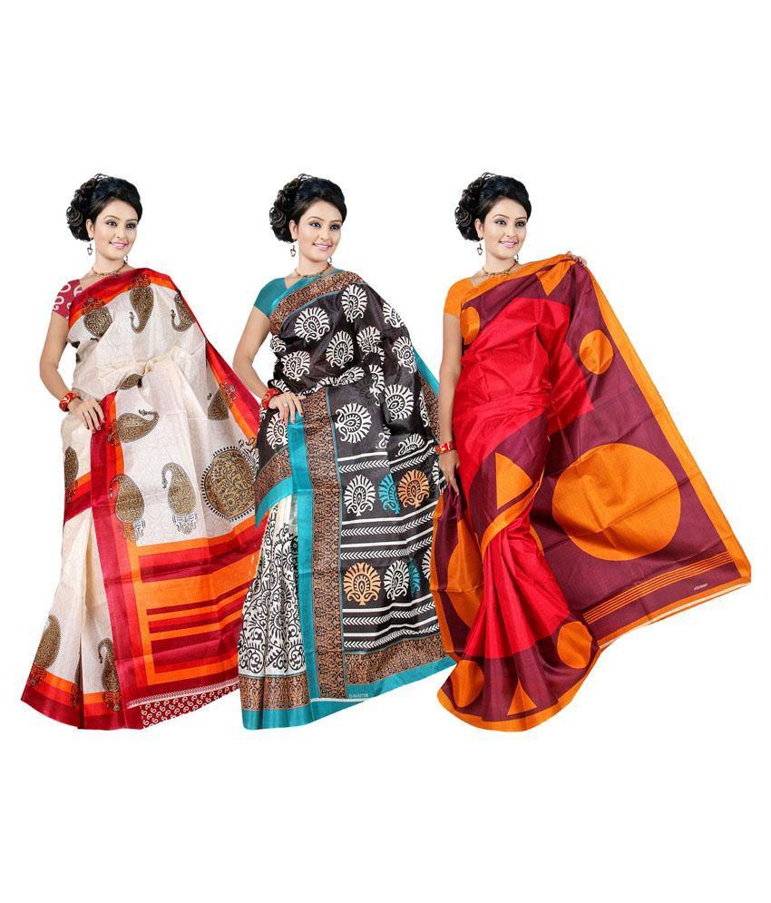 Garg Fashion Multicolour Bhagalpuri Silk Pack of 3