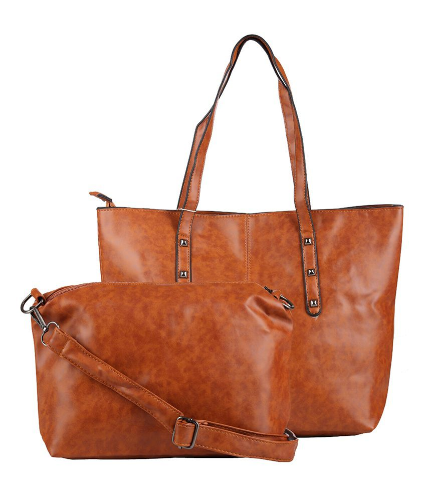 Iva Brown Shoulder Bags - Combo Of 2