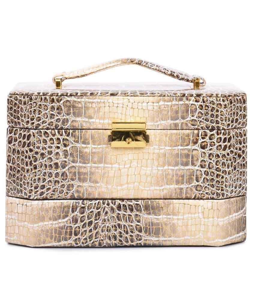 Lineysha Boutique Black And Golden Animal Print Jewellery Box