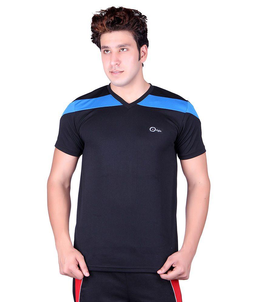 Originsport Black Sports Wear T-Shirt