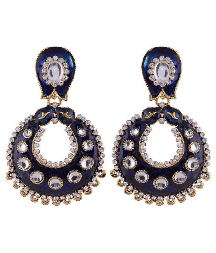 Sewad Multicolour Brass Drop Earrings
