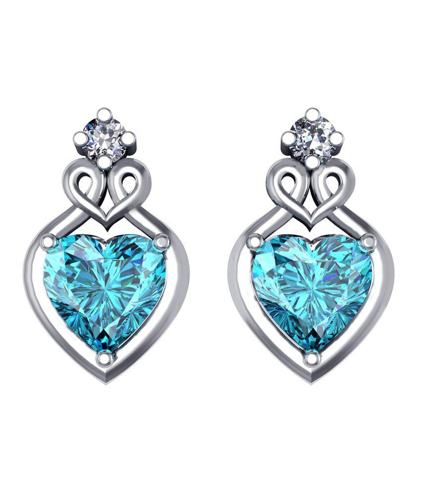 Shruti Blue German Silver Stud Earrings