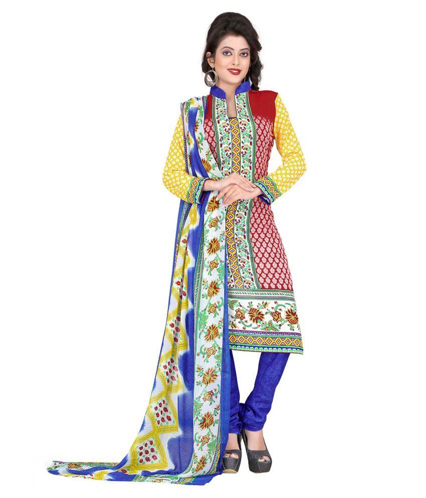 krizel Multicoloured Art Crepe Unstitched Dress Material