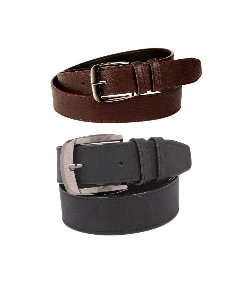 CALIBRO Men's Brazil brown & Matte Black stylish Belt (Pack Of 2)