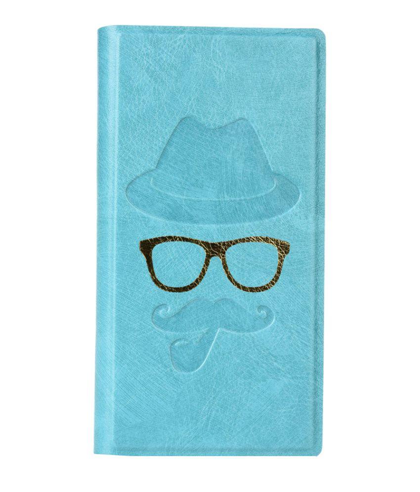 Jo Jo Cover Moustache Series Leather Flip Case For Micromax Canvas Duet 2 EG111 Blue