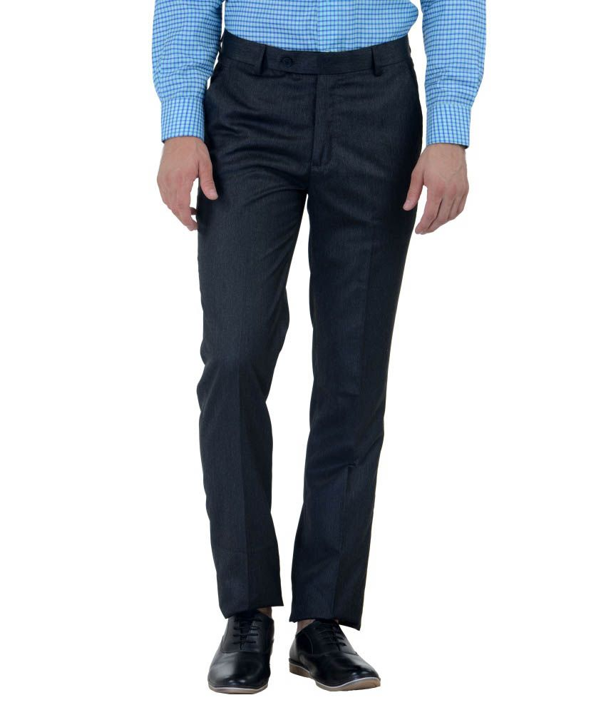Cobb Blue Slim Fit Formal Flat Trouser