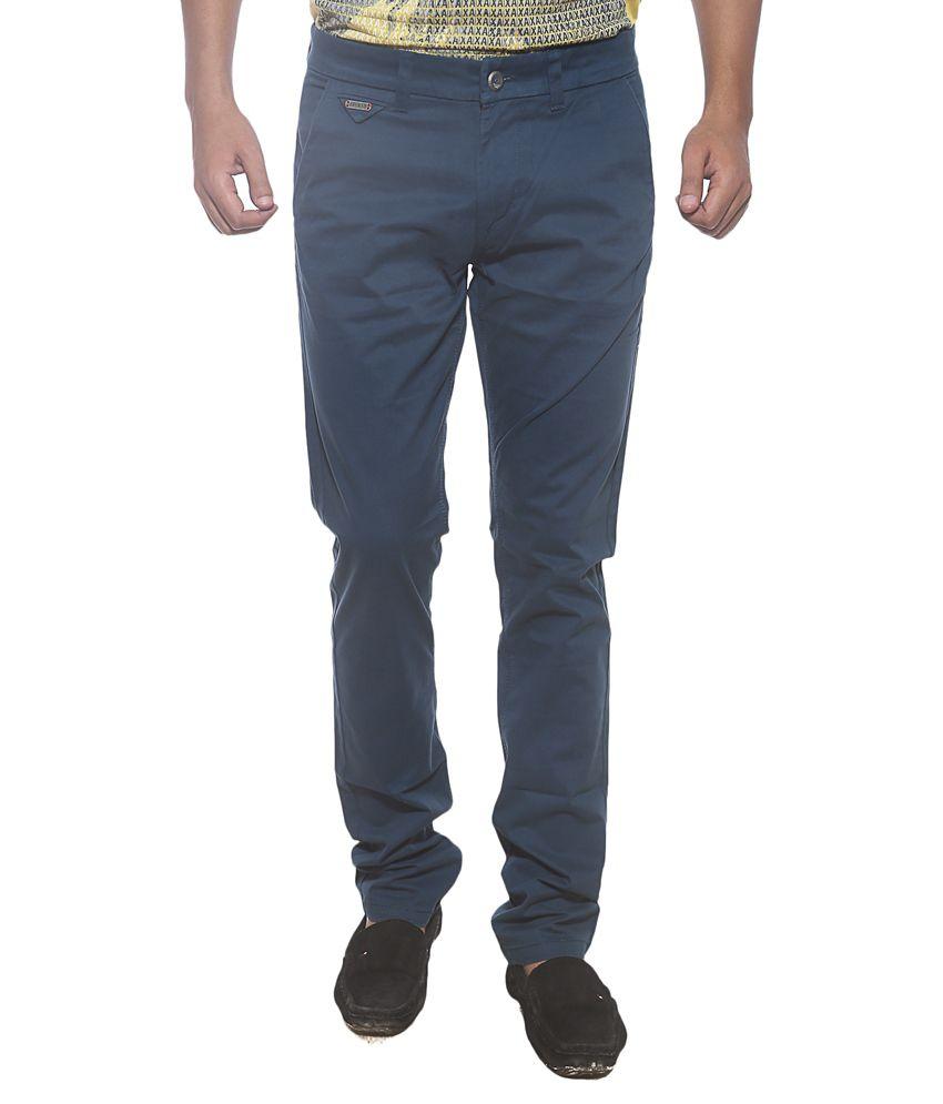 Spykar Blue Slim Fit Casual Flat Trouser