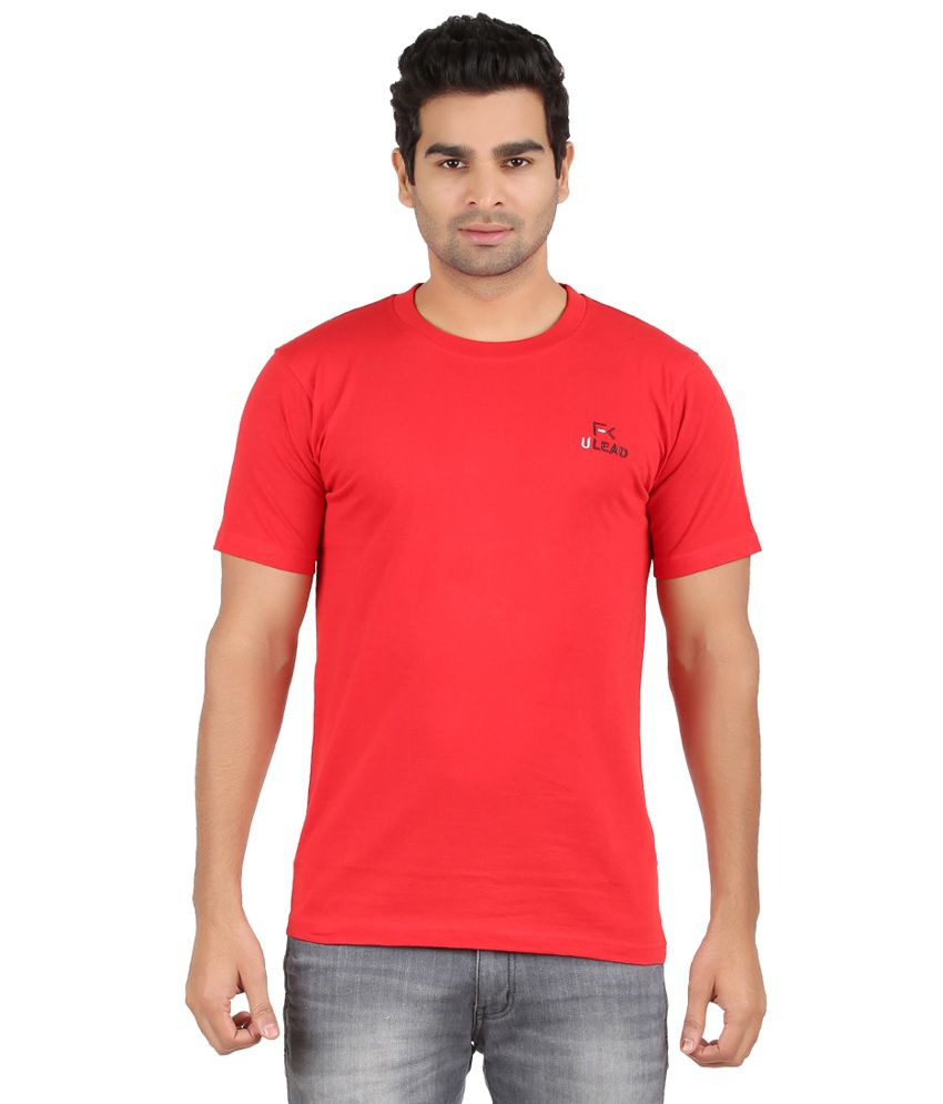 U Lead Red Cotton T-shrt