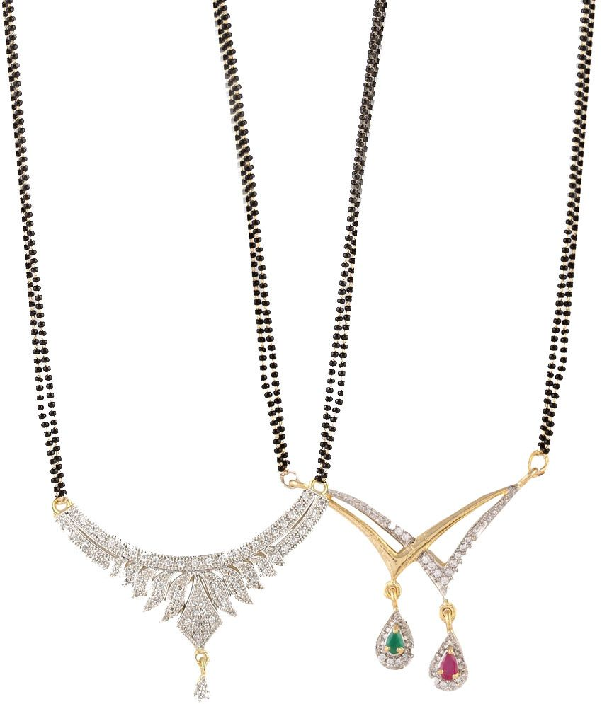 Youbella Black American Diamond Mangalsutra Set Of 2