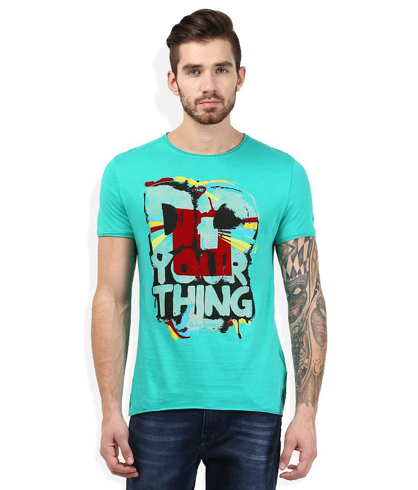 Being Human Green Round Neck Printed T-Shirt