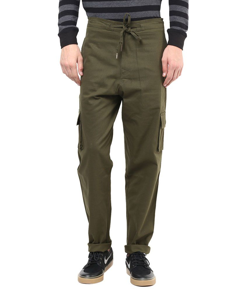 Hypernation Military Green Cotton Cargo Pants