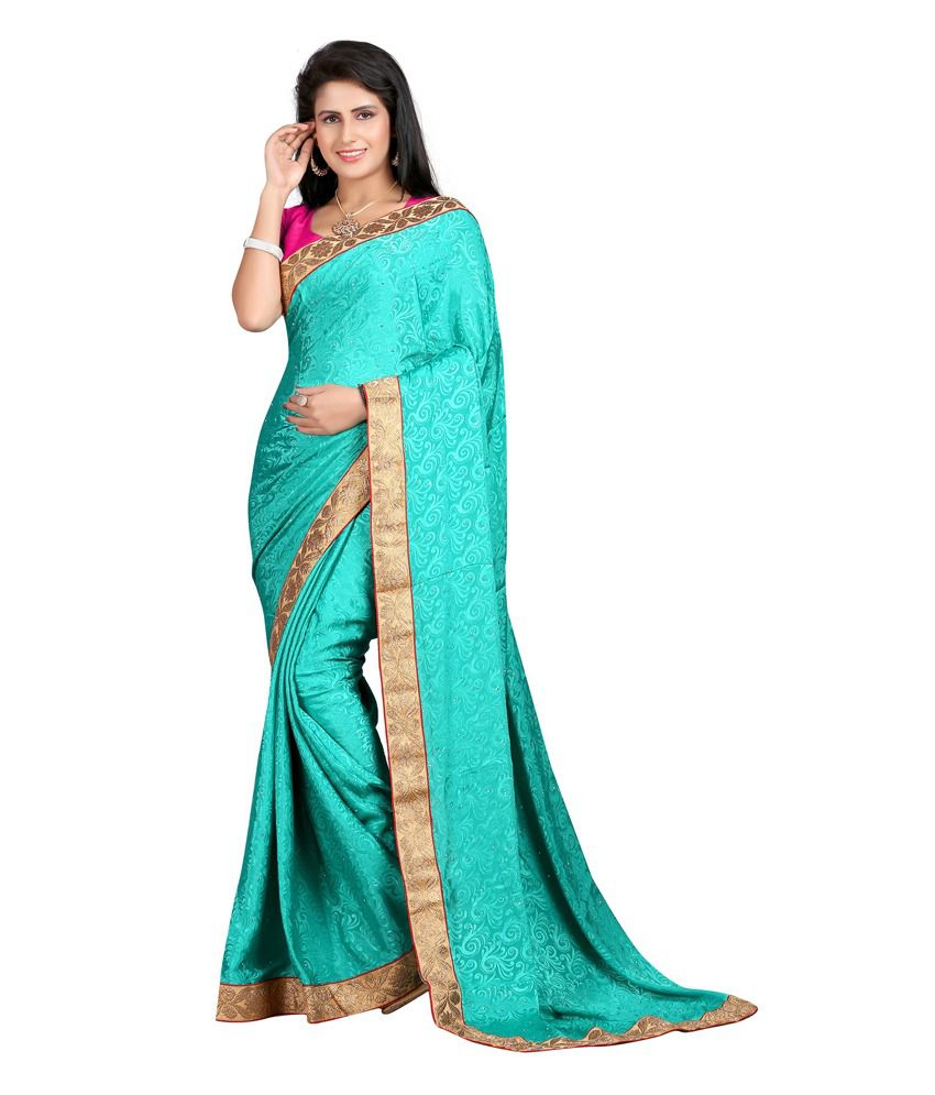 K3 Creation Turquoise Art Crepe Saree
