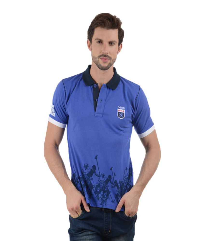 Tmo Blue Half Printed Polo T-shirt