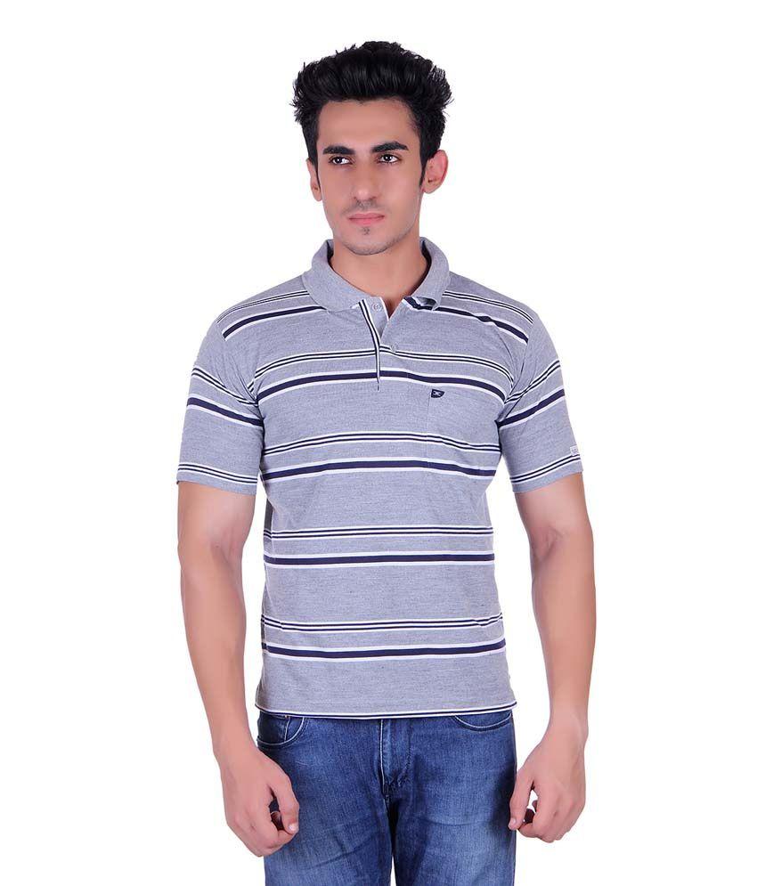 Dearclass Multicolor Half Sleeve Stripers Polo T-shirt
