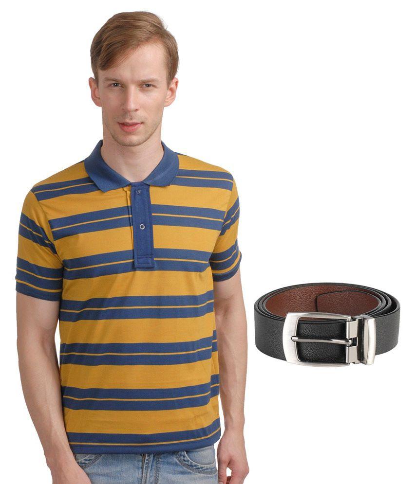 Superjoy Brown Cotton Blend Polo T-Shirts