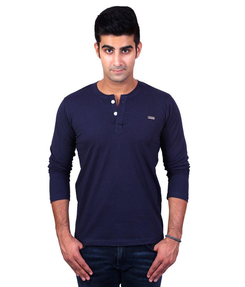 Bridge Navy Blue Cotton T-Shirt