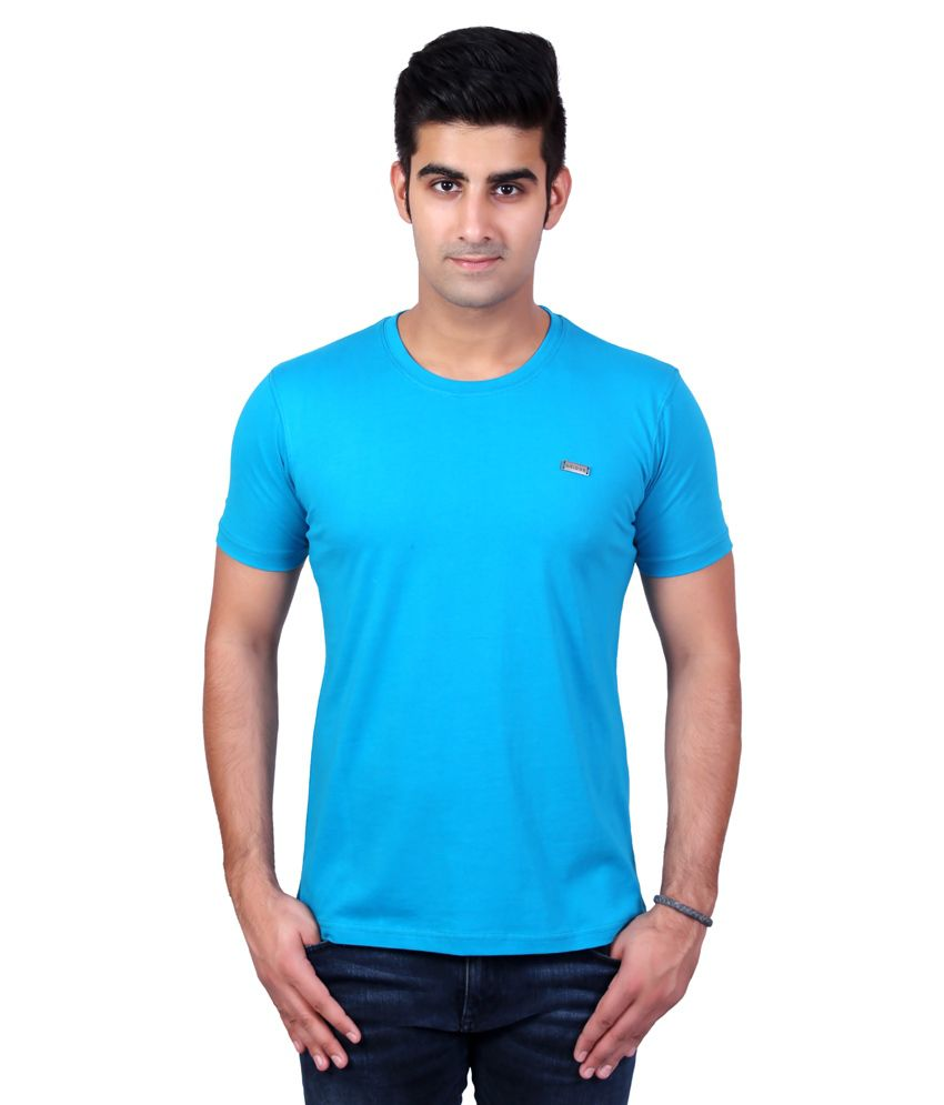 Bridge Turquoise Cotton Round Neck Half Sleeve T-Shirt