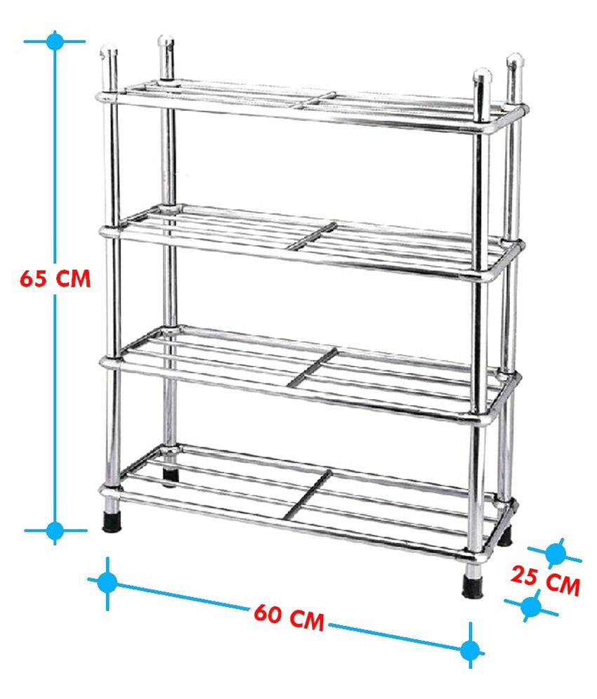 E Traders Sr T3 Silver Stainless Steel Shoe Rack