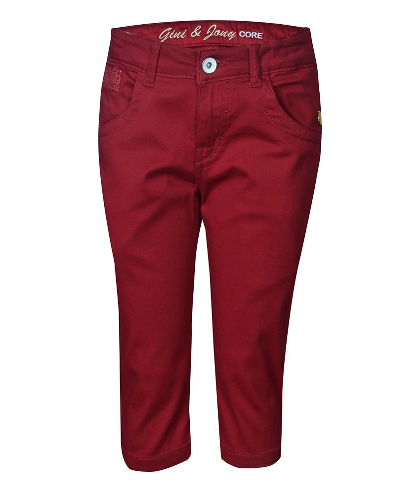 Gini & Jony Cotton Blend Red PEDAL PUSHER For Kids