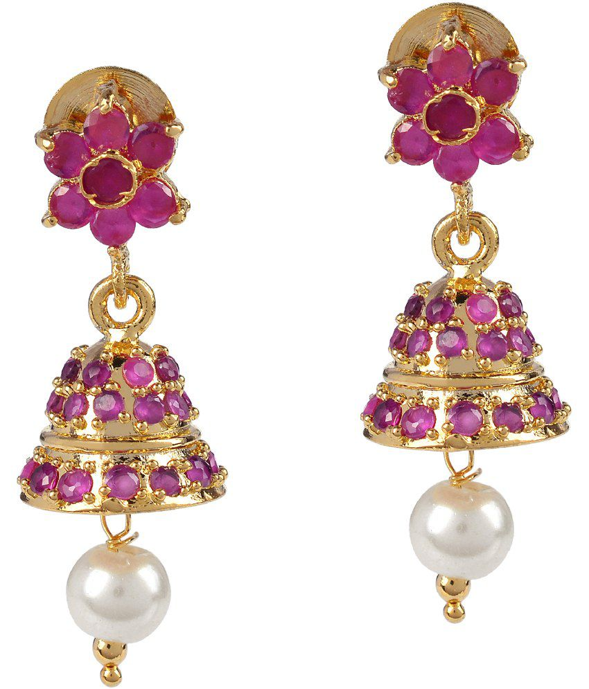 Makezak Gold Plated Cubic Zirconia Designer Jhumki Earrings