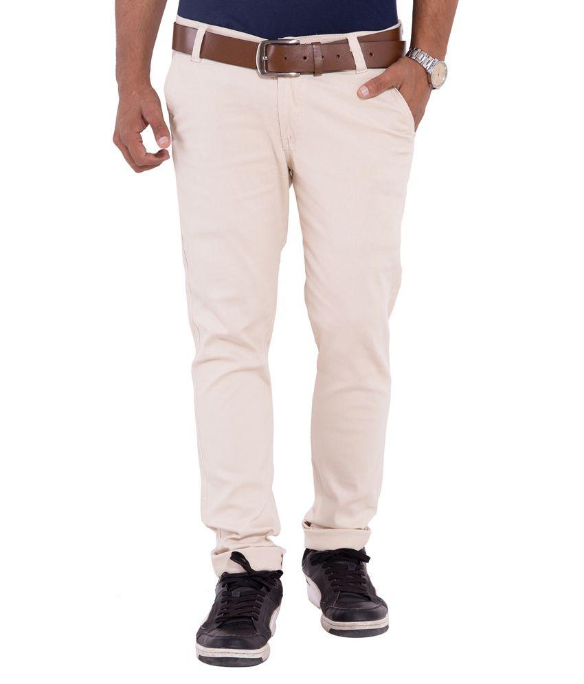 New Valley Beige Cotton Regular Fit Trouser