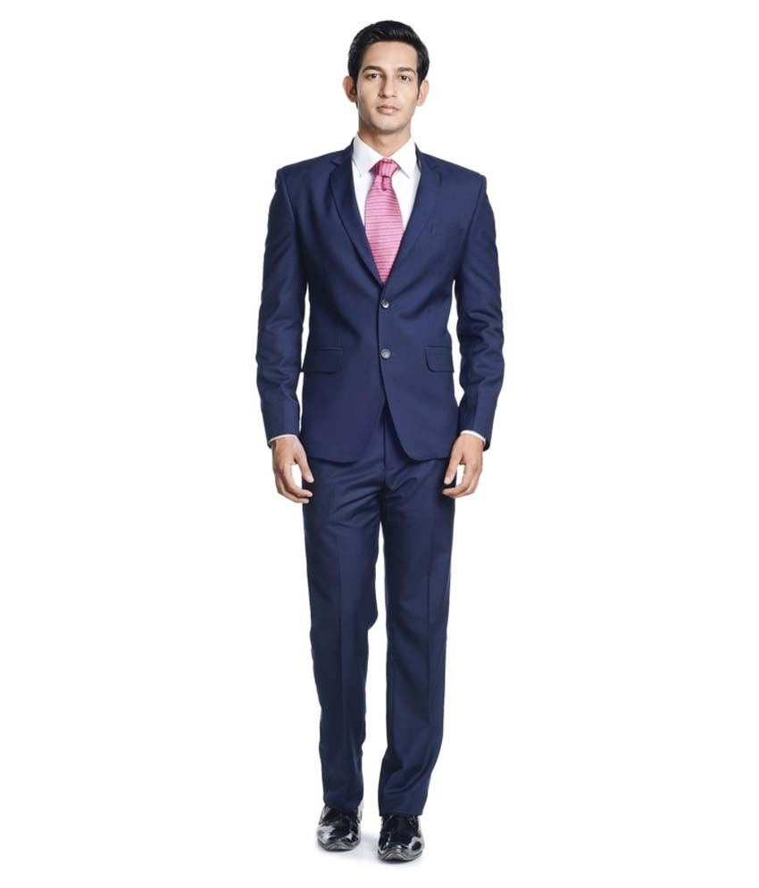 Pundir Trading Blue Cotton Blend Formal Wear Suit