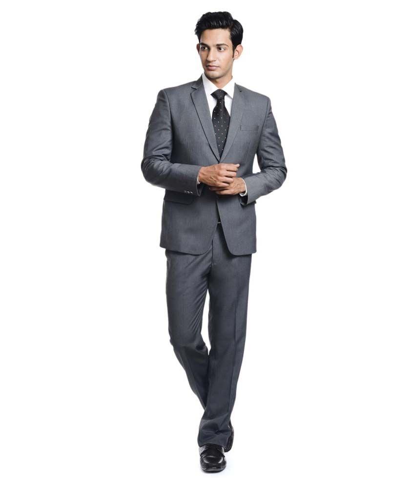 Pundir Trading Grey Cotton Blend Formal Wear Suit
