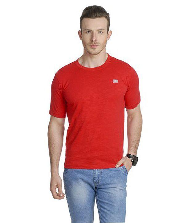 T10 Sports Red Slub Crew Neck T-Shirt