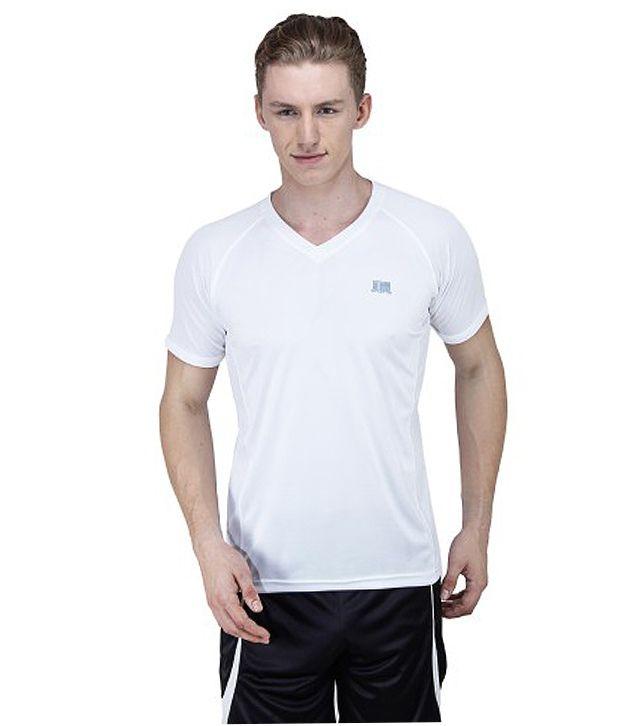 T10 Sports White Duathalon Dry Fit Raglan V Neck T-Shirt