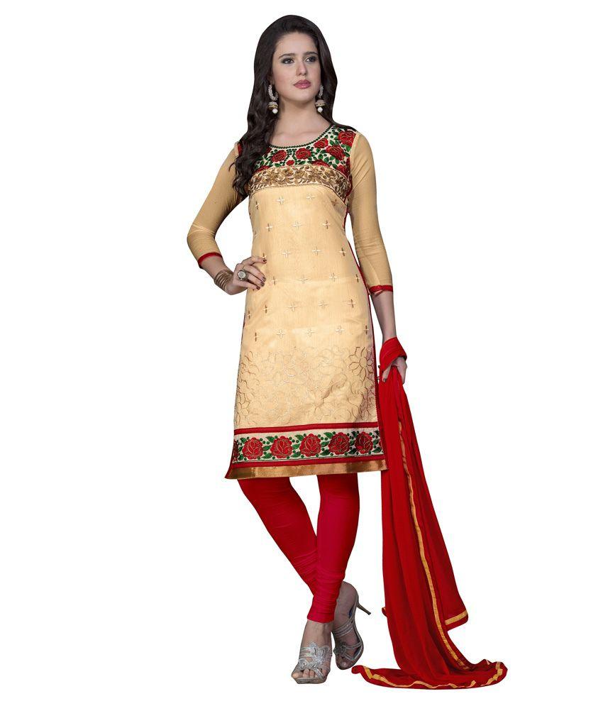 KF Retail Beige Cotton Unstitched Dress Material