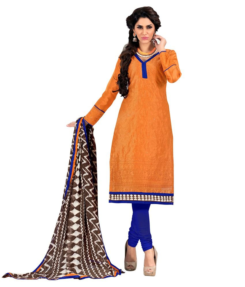Khushali Orange Chanderi Straight Unstitched Dress Material
