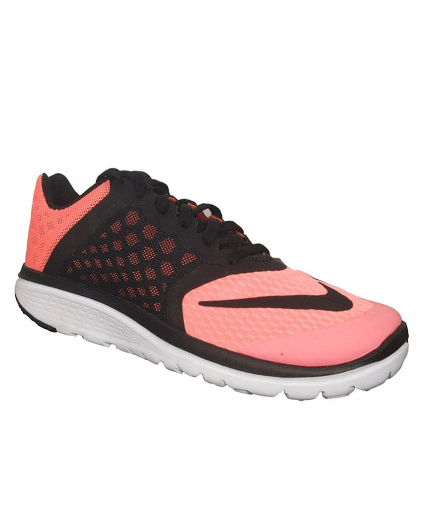nike fs lite run 3 black and pink sports shoes