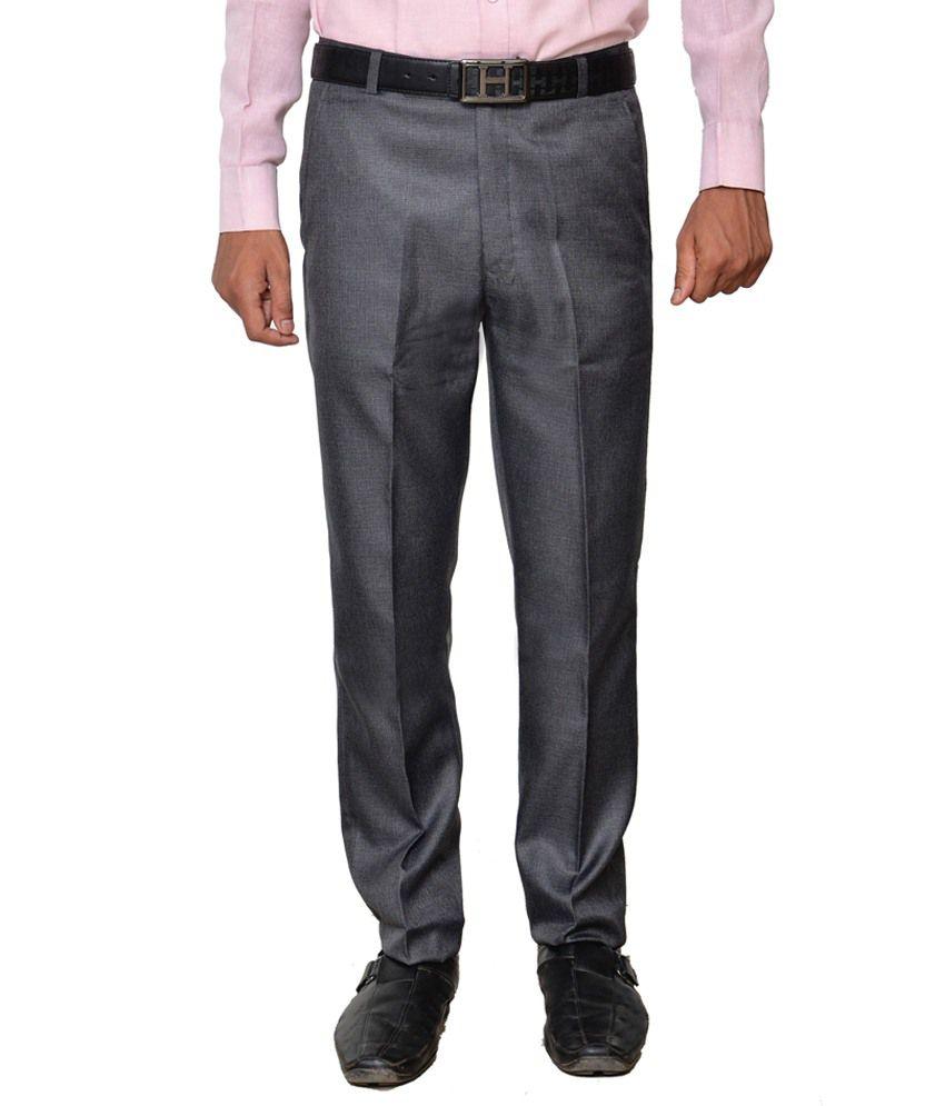 Aristogi Grey Regular Fit Formal Flat Trousers