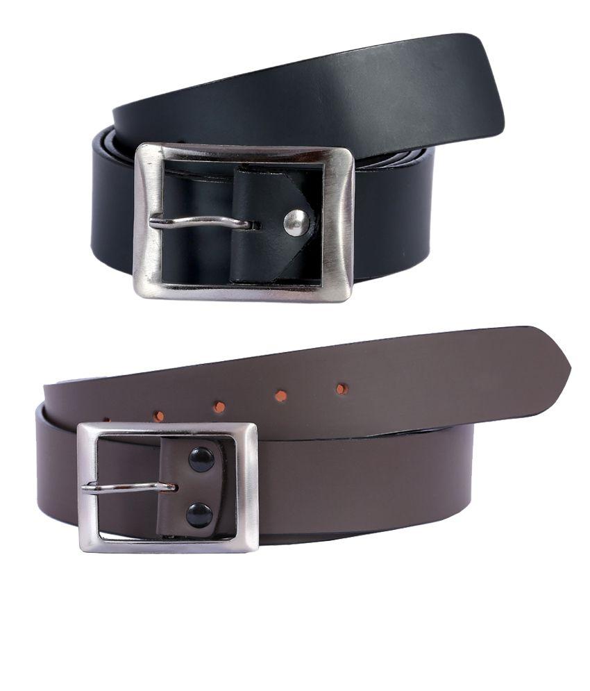 Hardy's Collection Black Leather Formal Belt for Men - Pack of 2