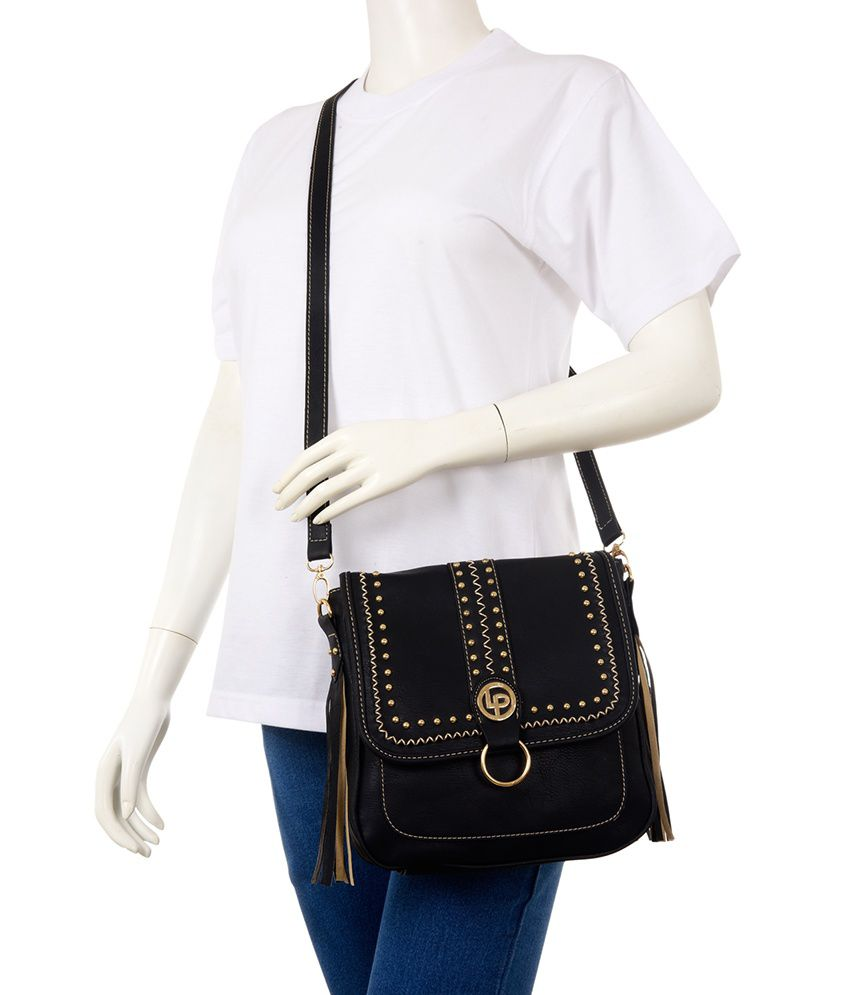 Lino Perros Black P.U. Casual Ladies Sling Bag - Buy Lino Perros ...