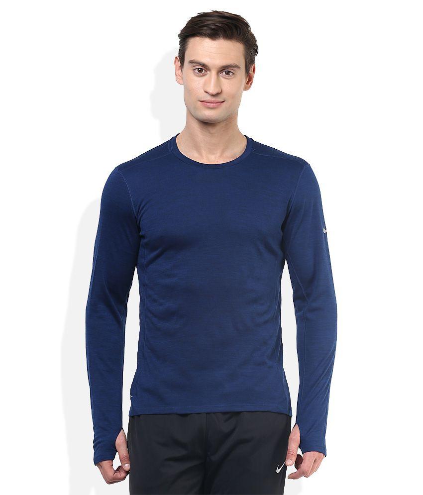 Nike blue round neck full sleeves basics t shirt buy for Jockey full sleeve t shirts india