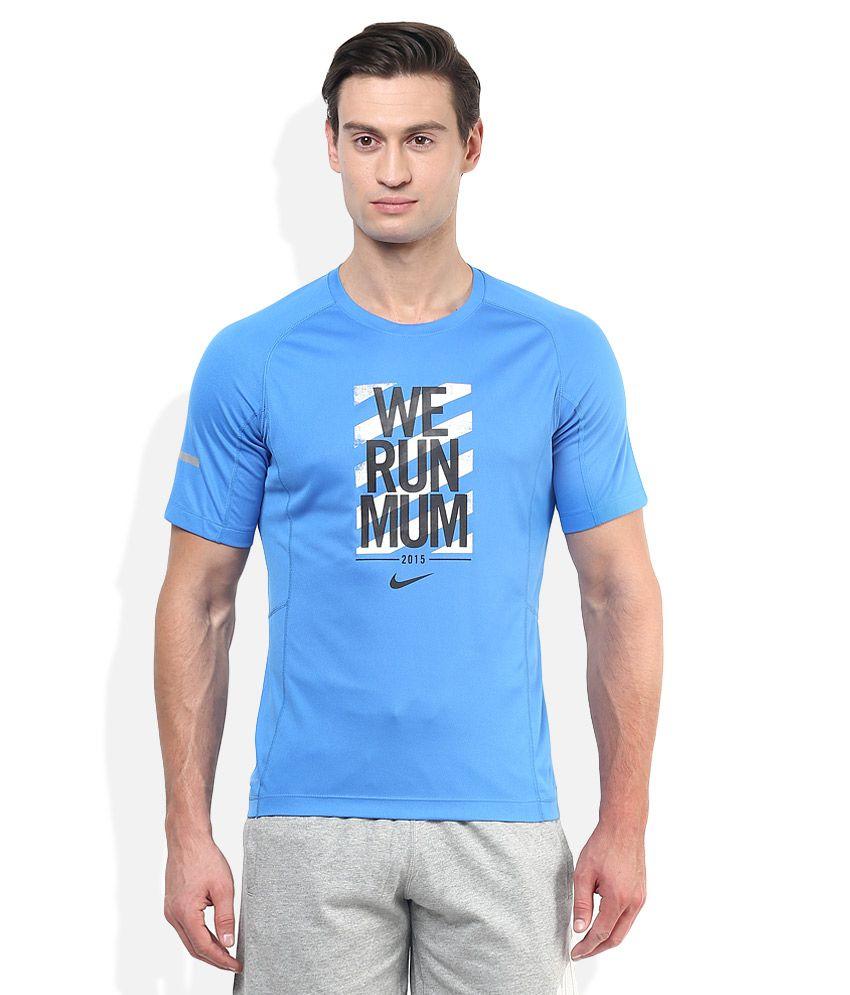 Nike Blue Round Neck Half Sleeves Printed T-Shirt