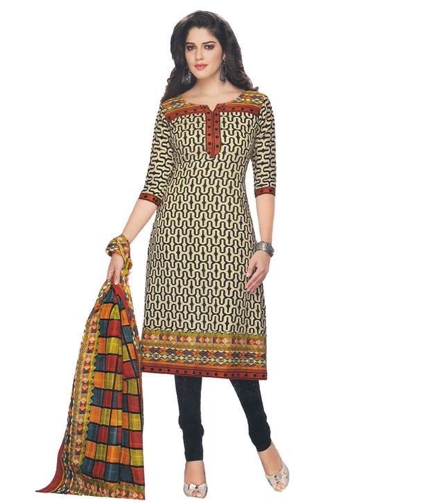 Party Wear Dresses Multi Cotton Unstitched Dress Material