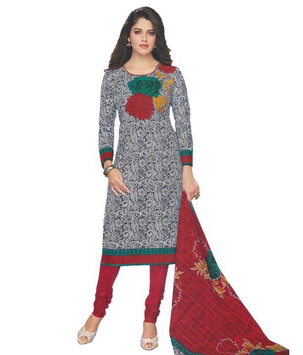 Party Wear Dresses Multi Cotton Unstitched Dress Material