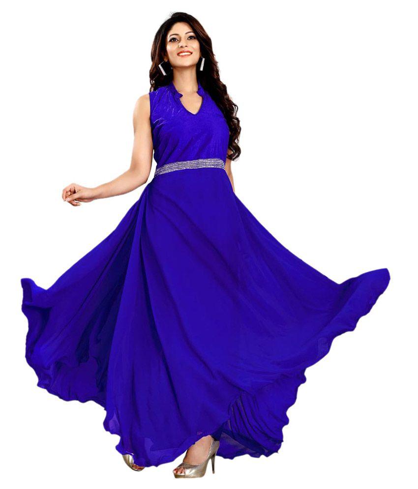 Shreya Enterprise Blue Velvet Gowns - Buy Shreya Enterprise Blue ...