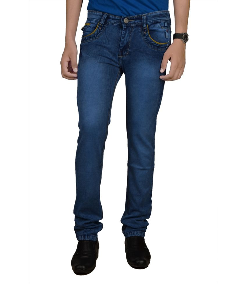 Speed-99 Blue Cotton Blend Skinny Fit Jeans