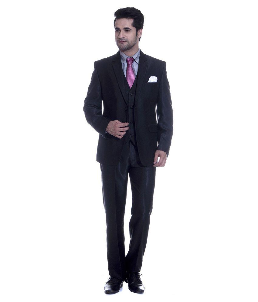 Tag 7 Black Poly Blend Formal Wear 3 piece Suit