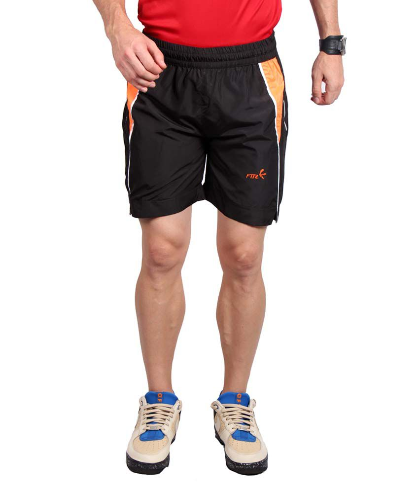 Fitz Black & Orange Polyester Solid Shorts
