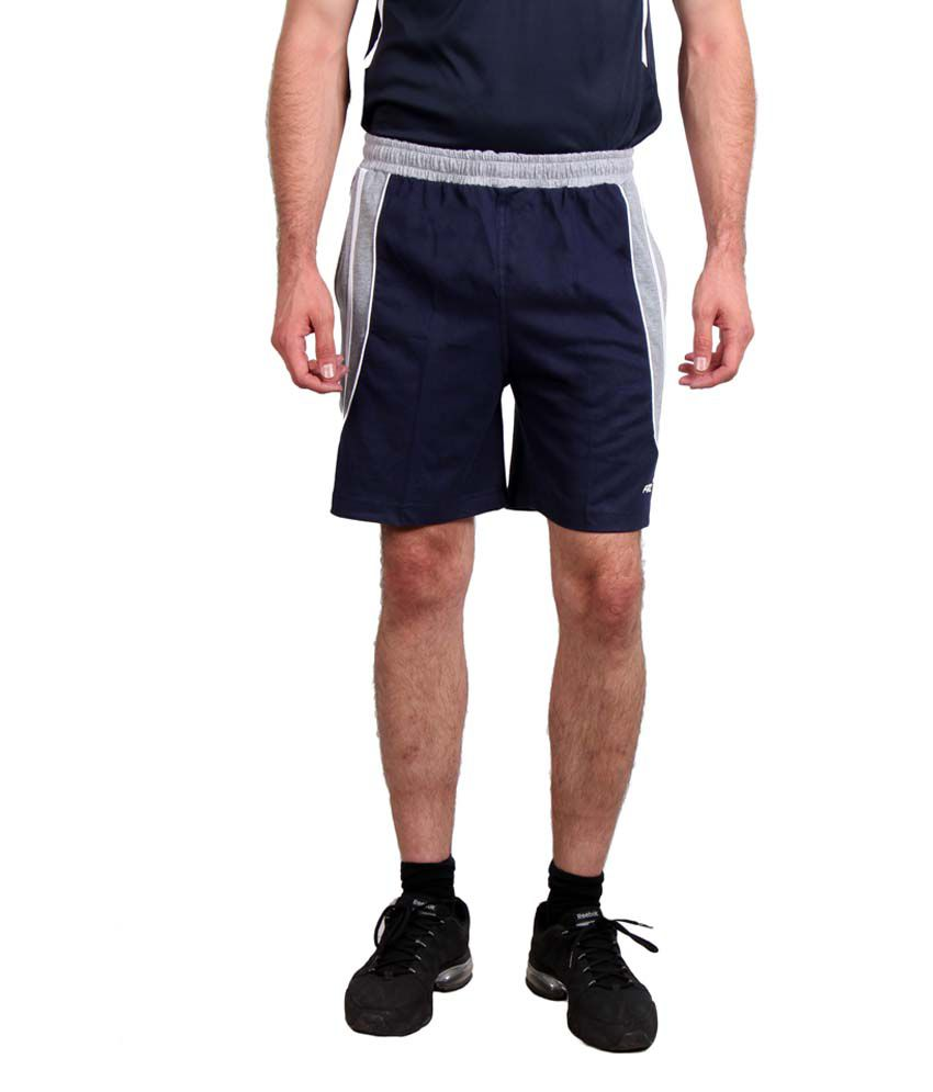 Fitz Blue & Grey Polyester Solid Shorts