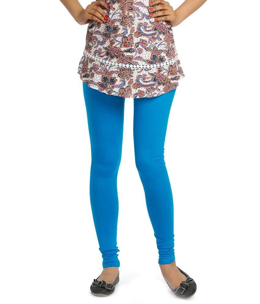 P R Fashion Blue Cotton Leggings
